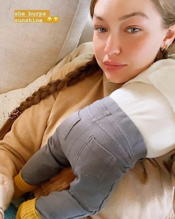 Gigi Hadid snuggles charming one month old baby girl joking she 'burps sunlight'