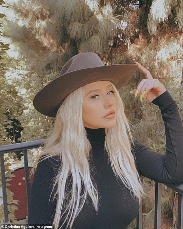 Fall fashions: For the caption to that duo of selfies, Xtina used a string of autumn leaf emojis
